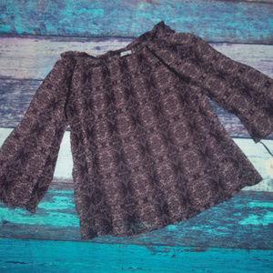 Crinkle Off Shoulder Sheer Blouse BOHO XL
